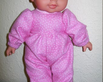 Polka Dot Deep Pink Sleeper for Dolls 8 to 10 Inch, Berenguer Dolls, and Bears