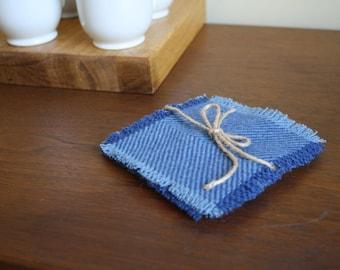Blue Herringbone Pendleton Wool Coasters - Set of 4