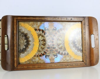 Antique Butterfly Serving Tray Pre-1910