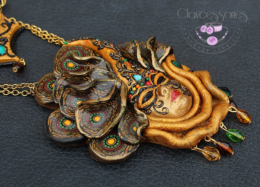 Mask Necklace / Paisley Ornament / Charm necklace / Art Nouveau necklace / Statement necklace / Polymer clay necklace