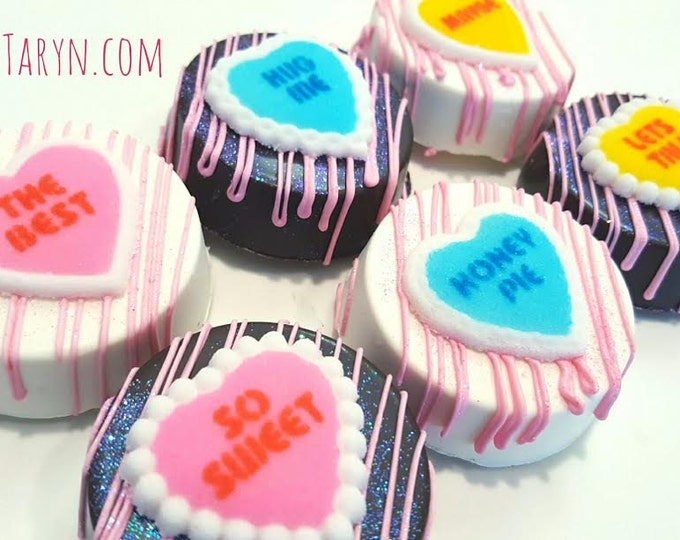 Featured listing image: Valentine's day chocolate covered oreos. Valentines oreos. Valentine's day. chocolate. oreos. Valentine's day treats. Conversation hearts