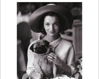 50% Off Estate Sale Vintage Vogue Dog Poster Print, Canine Couture, 1960s Pug Fashion Art, Dog Art, 11 x 14  Mat, Pug Print