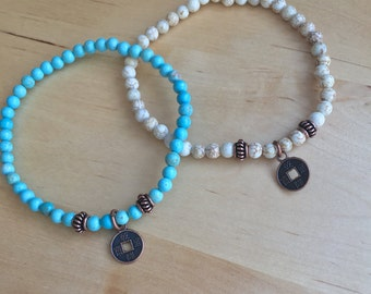 LUCKY mini TINY Coin BRACELET copper Chinese coins good fortune wealth amulet turquoise howlite beads