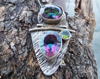 Mystic Topaz Peridot Pendant Silver Necklace Handmade Gemstone Sterling 925 Stone Dark Antique Vintage Jewelry μενταγιόν τοπαζι