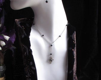 black onyx tin cup Y necklace and earring set
