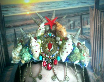 Ethnic Siren Mermaid crown/headpiece, Boho, Festival, Photoshoot, Fantasy, Cosplay, gypsy