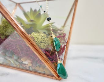 Gold and Malachite Stone Necklace