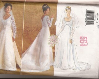 Butterick 4289  Misses Wedding Gown With Detachable Train, Sizes  6-8-10-12 or 14-16-18, Vintage 1995