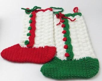 Vintage Hand Crocheted Christmas Stockings, Set of 2