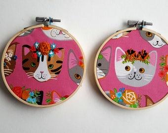 Feline Floral Small Hoops