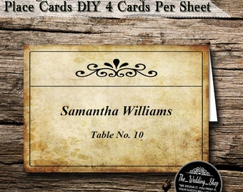 Instant Download- Printable PDF DIY Vintage Ticket Wedding Tent Style Template 4 Place Cards Per Sheet