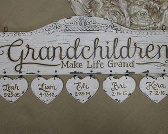 Grandchildren Sign-Grandkids Sign-Grandchildren-Grandkids-Gift for Grandma and Grandpa-Grandchildren Names-Grandkids Names