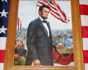 Framed Civil War Painting, Mort Kunstler, ABRAHAM LINCOLN, Gettysburg Address