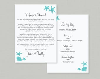 Starfish Wedding Welcome Letter & Itinerary / Beach / Destination Wedding Welcome Gift Bags / Wedding Itinerary Details / #322