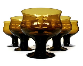Dark Amber Dessert Ice Cream Bowls, Pedestal Cups Hand Blown Brown