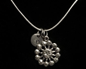 Sun and Zodiac Sterling Silver Necklace, Zodiac Sterling Silver Necklace, Horoscope Sterling Silver Necklace qb62