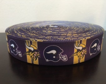 "1/3/5/7/10 Yards Minnesota Vikings 7/8"" Grosgrain Ribbon"