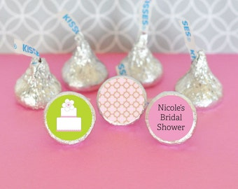 Bridal Shower Hershey®Kiss Labels-Stickers for Candy Kisses-Wedding Chocolate Favors-Personalized Hershey's®Kisses 108 Labels