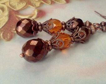 Vintage Style Earrings, Victorian Earrings, Renaissance Earrings, Boho, Copper Filigree Earrings, Bronze and Citrine Earrings, Honey Golden