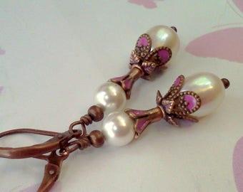 Freshwater Pearl Earrings, FW Pearl Dangles, Handmade Earrings, Painted Pink Filigree Pearls, Hand Painted Filigree, Pink Copper Earrings