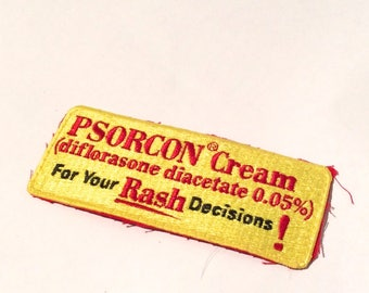 Vintage 1990s Unique Goth Weird Medical Patch 'For All Your Rash Decisions' Yellow Psorcon Cream, Skater, Rocker, Rad
