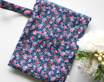 Wet / Dry Bag - Re-useable - Les Fleurs by Rifle Paper Co Rosa Floral Navy and Pink - Baby and Kid Travel - Girl - flowers - Cloth Diapers