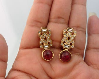 Genuine Ruby Earrings Baguette Earrings July Birthstone Jewelry Deadstock Vintage Unsigned ESPO Rhinestone Clip on Earrings New Old Stock