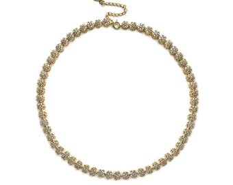 Crystal Gold Choker, Evening Jewelry, Bridal Choker Necklace, Crystal Choker Necklace, Statement Necklace, Gold Prom Necklace N069S