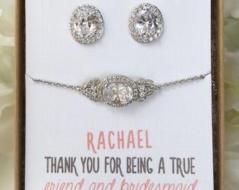 Bridesmaid Jewelry Set, Bracelet and Earring Set, Bridesmaid Personalized Jewelry Set, Silver Dainty Bracelet Earring Set B159