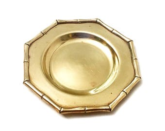 Vintage Brass Octaganal Bamboo Plate or Ashtray - Gold Metal Bamboo Home Decor