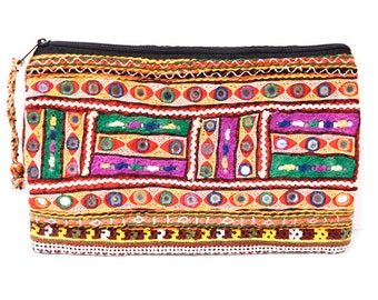 Indian mirror work pouch (0009) Indian mirror work Pouch Ethnic pouch Hippie pouch Indian mirror work
