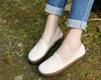 2 Colors! Handmade White Flat Shoes for Women, Soft Leather shoes, Oxfords Shoes, Casual slip ons Shoes, Very Soft Sole Shoes, Leather Shoes