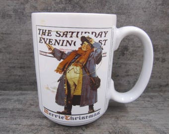 "Norman Rockwell "" Saturday Evening Post""  Christmas Mug By Sherwood"