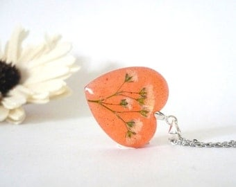 Heart Necklace - Love Necklace - Babys Breath Jewelry - Real Flower Jewelry - Botanical Jewelry - Resin Flower Necklace - Red Heart Necklace