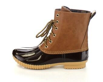 Brown Monogrammed Duck Boots