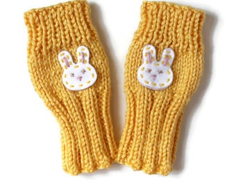 Rabbit Gloves, Cute Toddler Fingerless Gloves, Bunny Gloves, Yellow Childrens Gloves, Rabbit Kids Gloves, Sunshine Toddlers, Small Cute Kids