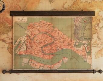 City plan of Venice in 1866, Italy, Canvas antique wooden frame, Gondola,  Giacomo Casanova, Marco Polo, The Grand Canal, Carnival of Venice
