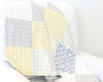 Colt's Yellow and Gray Baby Quilt | Plus Sign, Clouds, Polka Dot, Yellow, Gray, White Gender Neutral Baby Blanket
