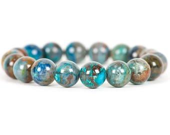 Chrysocolla Bracelet, 10mm Chrysocolla Stretch Leo Birthstone Beadwork Bracelet, Gemstone Bracelet, Handmade Jewelry, Gemstone Jewelry