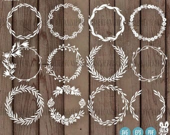 BIG SVG Bundle!! 12 Blank Circle Monogram Frames/Wreath | svg / pdf Papercut Template | floral Paper Cut Out | Cricut, Cameo | Home Decor