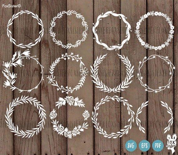 Big Svg Bundle 12 Blank Circle Monogram Frames Wreath