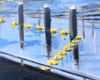 Yellow buoys, cityscape, water painting, original daily oil painting on panel 20x20cm