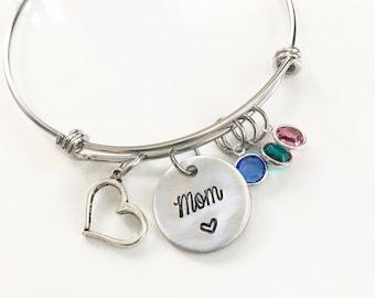 Personalized adjustable bangle bracelet, Mimi bracelet, Grandmother's bracelet, Aluminum bracelet, Established grandmother bracelet