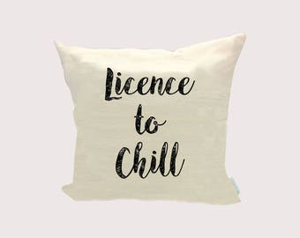 Personalised Cushion Licence to Chill Organic Linen