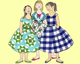 FROCKS  a lovely  colourful card...three girls in gorgeous summer dresses . Printed card from collage original.