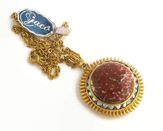 Red Czech glass and Rivoli rhinestones pendant necklace in gold plated metal setting, Jaco brand, gold chain, vintage dead stock, 1960s