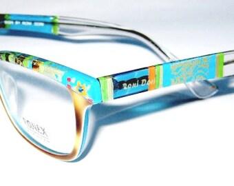 Gift For Her, Handmade, Eyeglasses Women, Eyeglasses, Clear Eyeglasses,Eyeglasses For her,  Israeli designer, Model 055 Brown Gold Turquoise