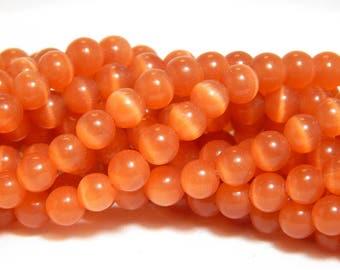 6mm Orange Cats Eye, Cats Eye Beads, Orange Cats Eye, 6mm Orange Cats Eye Beads, Orange Beads, 6mm Orange Beads, Orange Glass Beads, B-13C