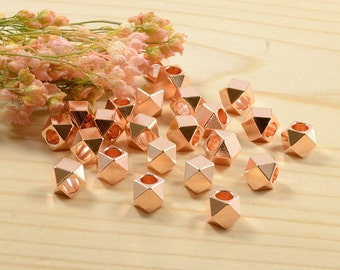 5mm Faceted Beads, Large Hole Beads in Anti-Tarnish Rose Gold Plating, Diamond Cut Spacer, Gold Beads, Metal Spacer Beads - 25 pcs/ order