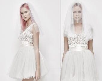 Tulle Wedding Skirt Tutu with Satin Ribbon, Short tulle dress, Tutu Skirt, Adult Tutu, short wedding dress